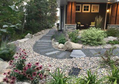 Bridgewood stepping stone pathway over sub level drainage sytem harvesting storm water