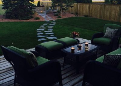Flagstone pathway takes us from one beautiful outdoor living area to another