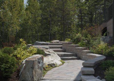 Granite brick and slab stone staircase
