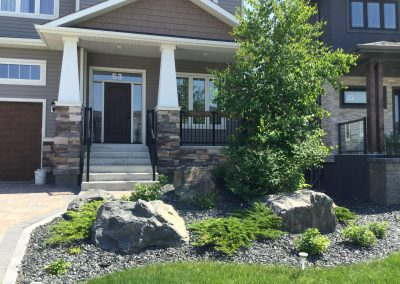 Nothing gives more pop to a front landscape than well placed natural stone